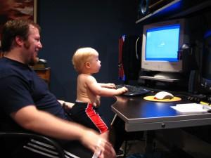 Jeremy instructing the male twin in nerdy ways.