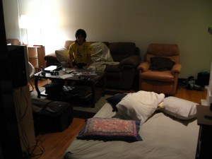 Couches and air mattresses and chairs, oh my.