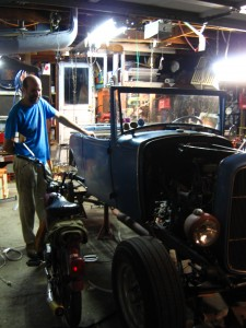 Leonard Duke, proud owner of a driveable Model A.