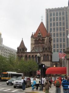In addition to buildings, Boston featured numerous pedestrians.