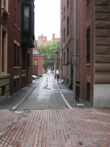 A remarkably straight alley.
