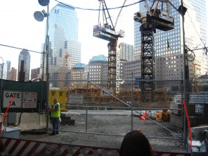 Former site of the twin towers of the WTC, known in newscasting circles (and therefore everywhere) as as Ground Zero.