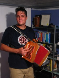 Mike with his zydeco accordion.