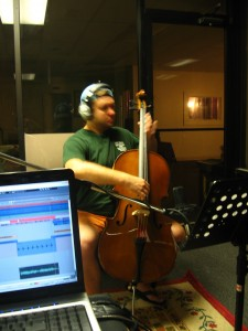 Brooks recording some pizzicato cello parts.