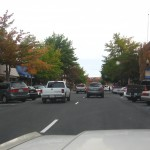 Driving through the bustling downtown of Bend.