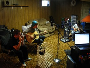 L-R: Anthony, Corey, and Stephen, laying down the tracks.